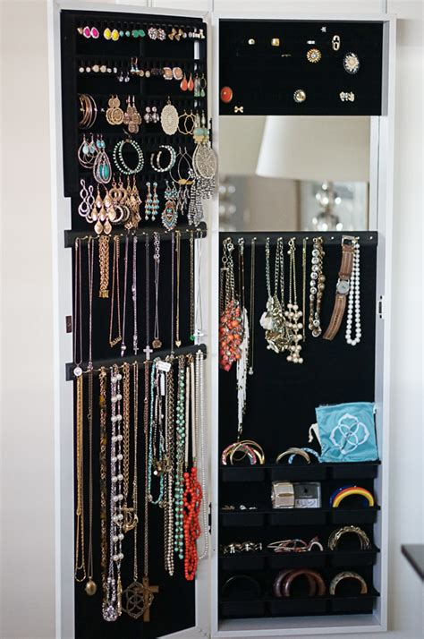 hanging jewelry organizer with mirror jewelry ideas
