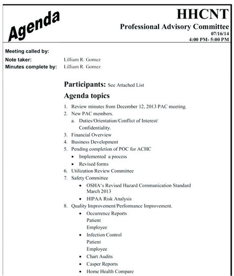 Committee Agenda Template Safety Meeting Minutes 7 Free Nominating Committee Report Template