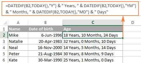 excel year function convert date to year & calculate age