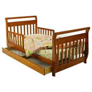 Toddler Bed With Trundle On Me Sleigh Toddler Bed With Trundle In Pecan 643 Pc