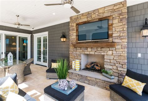 reclaimed wood and stone fireplace wall newly built htons style home home bunch interior
