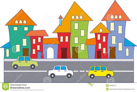 Cute Small House Plans Cartoon Town Stock Illustration Image Of Road Cartoon