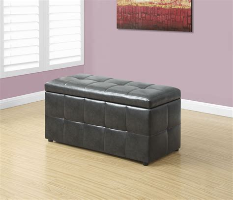 Gray Storage Ottoman Charcoal Grey Leather Storage Ottoman 8987 Monarch