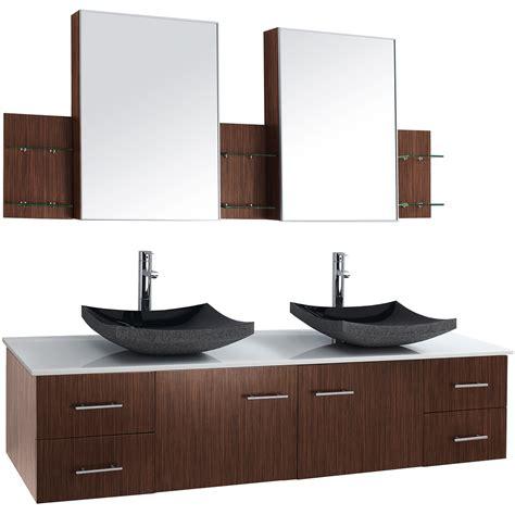 bianca  wall mounted double bathroom vanity zebrawood  shipping modern bathroom