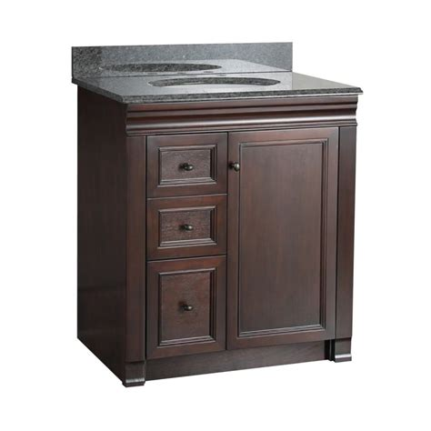 bathroom vanity with drawers on left side foremost shea3021dl tobacco bathroom vanity 30
