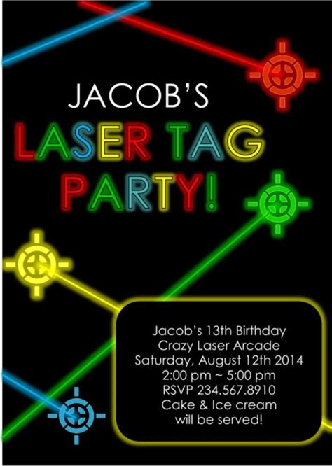 printable birthday invitations laser tag laser tag party invitation editable partygamesplus