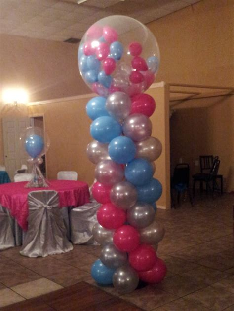 hot pink turquoise bubblegum balloon column balloon