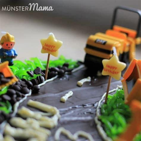 kuchen kindergeburtstag 2 jã hrige gebacken baustellen torte mit baggern und bauarbeitern