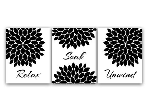 Black And White Bathroom Wall Decor bathroom wall relax soak unwind black and white bathroom