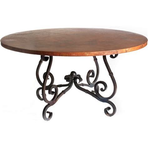 Hammered Copper Dining Table Iron Dining Table With 54 In Hammered Copper Top