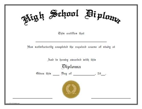 Free Printable High School Diploma Templates High School Diploma Free Printable Allfreeprintable Com
