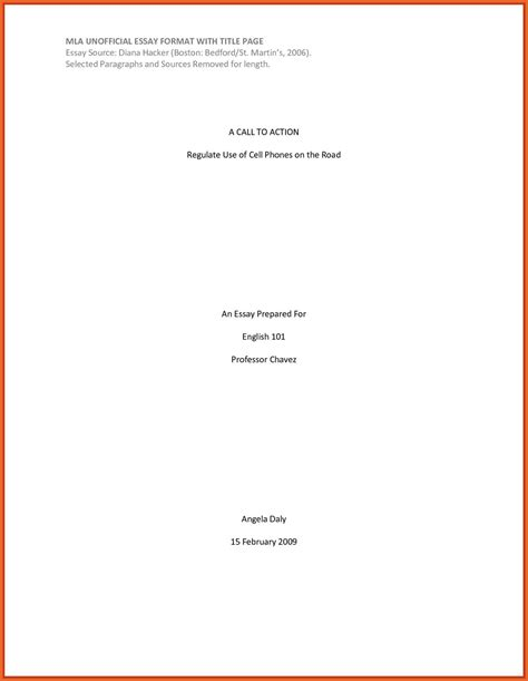 Mla Template For Pages