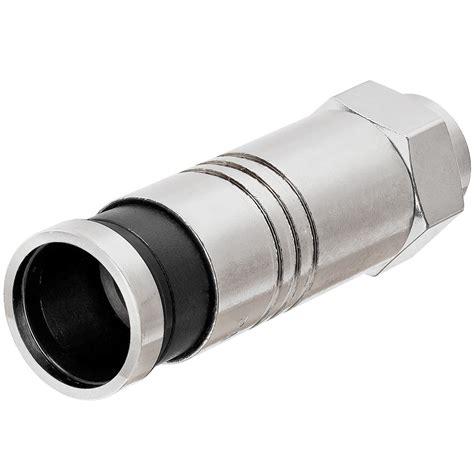 Conector F Rg 11 Compress platinum tools 18312 f type rg11 compression connector nickel plate 4pc black
