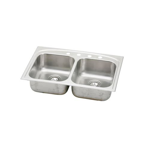 home depot kitchen sinks drop in elkay pergola drop in stainless steel 33 in 4 hole double