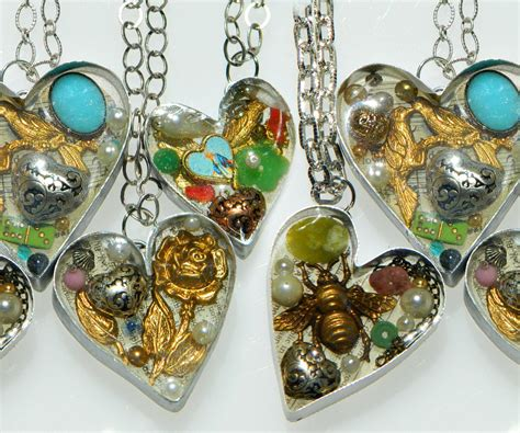 Handmade Resin Jewelry - handmade bezel resin hearts