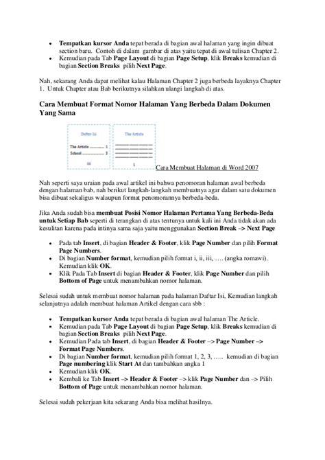 cara membuat halaman proposal di word 2007 cara membuat halaman di word 2007