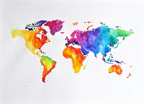 original abstract world map watercolor painting large