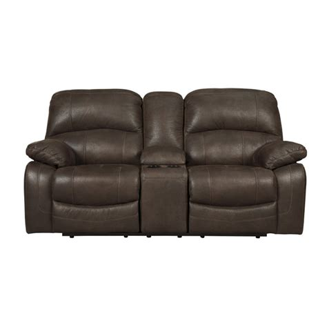 glider reclining loveseat ashley zavier glider reclining faux leather loveseat in