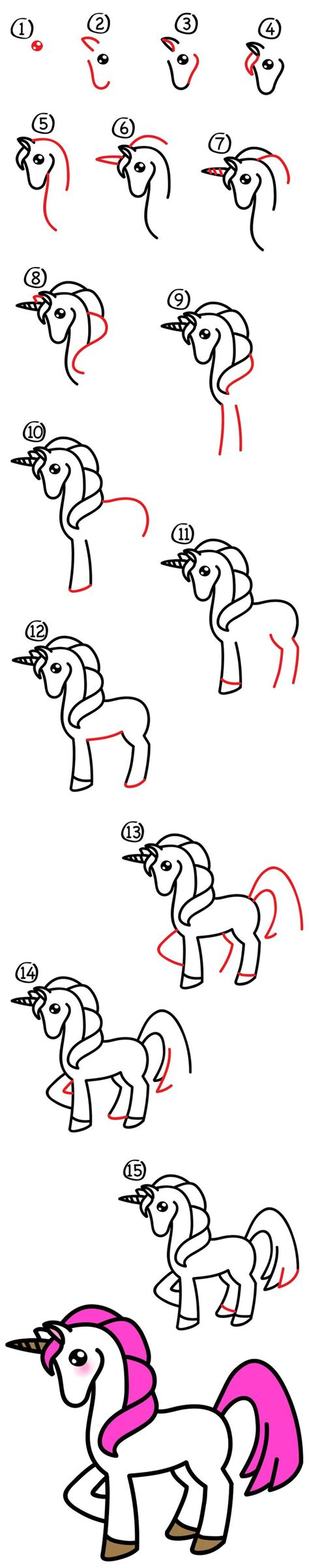 unicorn step by step 167 best tegning images on