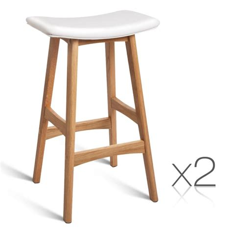 oak wood bar stools 2x white pu leather bar stools with oak wood legs buy