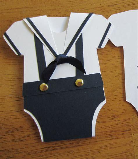 Handmade Onesies - handmade baby shower invitation onesie shape w sailor collar