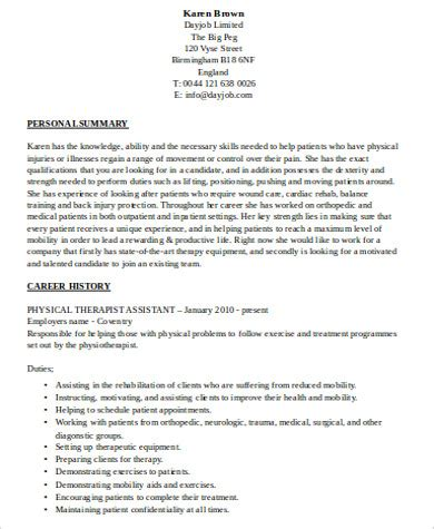 Therapist Resume Template by 8 Sle Physical Therapist Resumes Sle Templates
