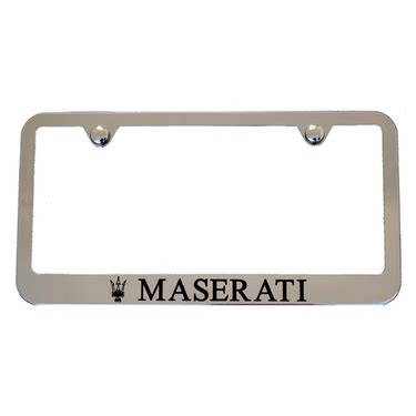 maserati back logo maserati chrome license plate frame black logos