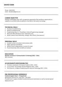 Fresh Graduate Cv Template by Sle Resume For Fresh Graduates It Professional