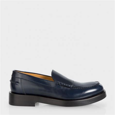 navy leather loafers paul smith s navy calf leather shipton loafers in