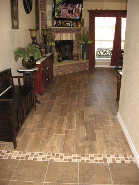 transition with wood plank tile   Bathroom Remodel
