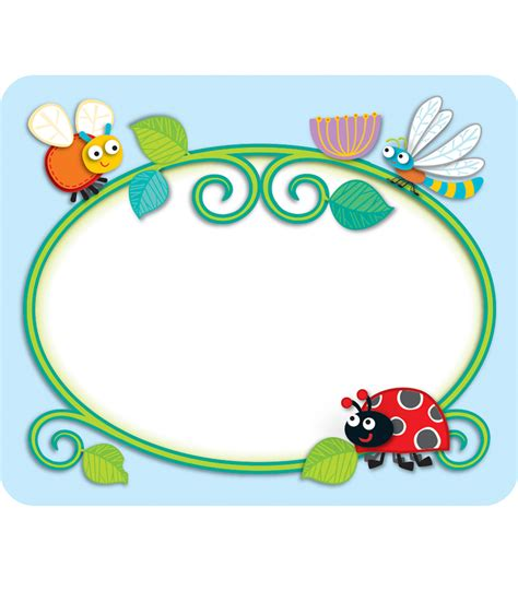 printable insect name tags buggy for bugs name tags grade pk 5 carson dellosa