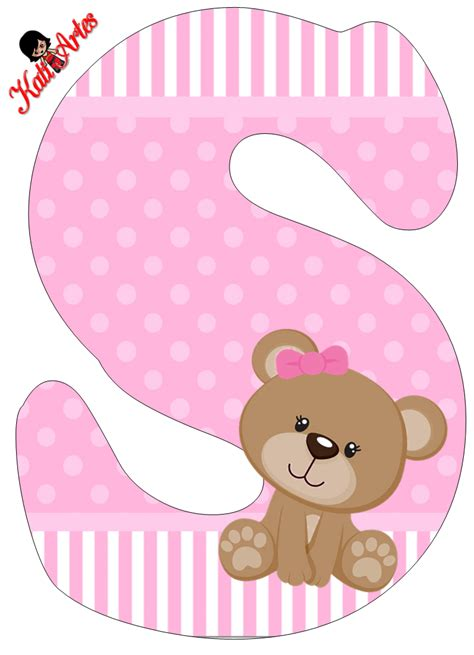 imagenes tiernas baby shower alfabeto de tierna osita con fondo rosa oh my alfabetos
