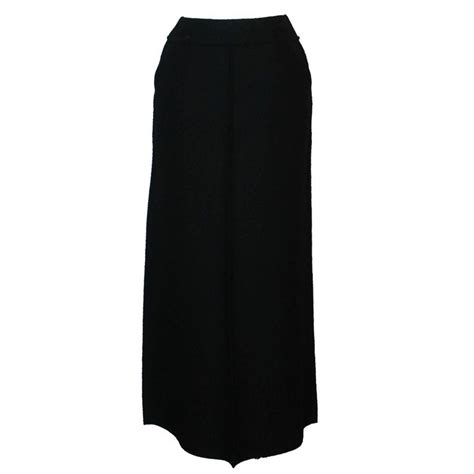 chanel 1999 black wool vintage maxi skirt w buttons
