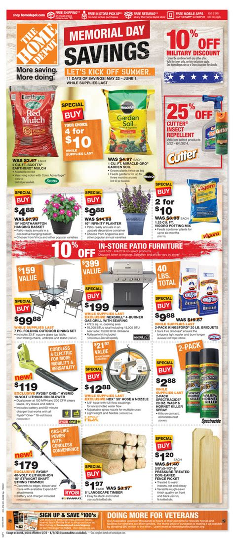 s coupon bargains home depot memorial day savings