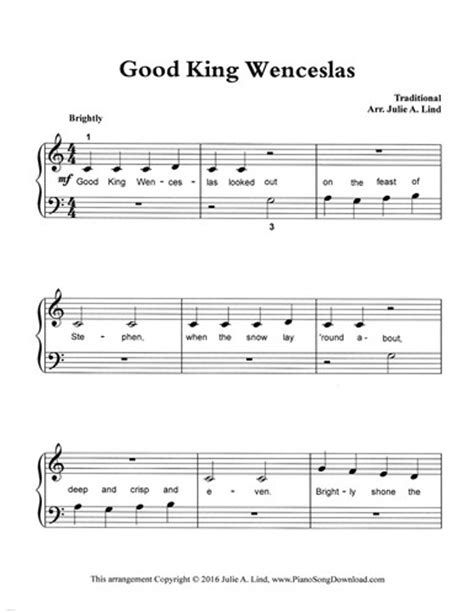 good king wenceslas hymnary org good king wenceslas free easy piano sheet music for