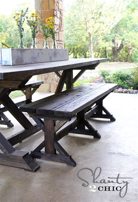 farmhouse table and bench plans diy bench farmhouse style shanty 2 chic