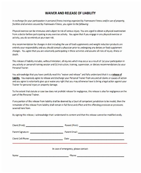 6 Fitness Waiver And Release Form Template Ueeur Templatesz234 Free Fitness Waiver Template