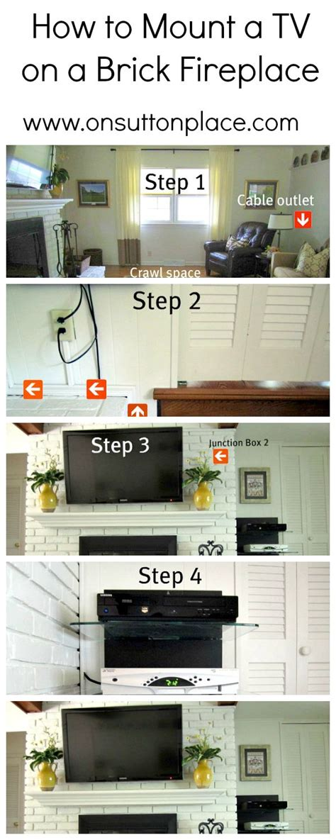 how to mount a tv on a brick fireplace to be the den