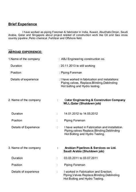 Piping Construction Supervisor Resume by Piping Foreman Resume