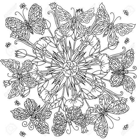 imagenes de mandalas de mariposas para colorear flores y mariposa forma de un mandala para colorear de