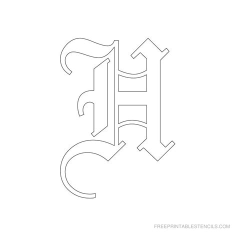 printable old english fonts image gallery letter h stencil
