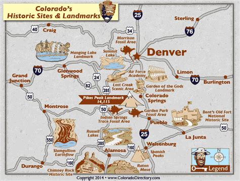 map of national parks in colorado colorado national historic fossil landmarks map