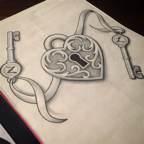 key and heart tattoos lock design drawings
