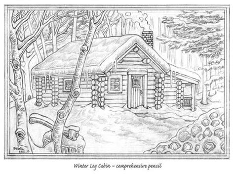 log cabin drawings pencil drawing cabins joy studio design gallery best