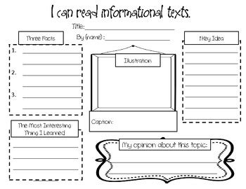 printable graphic organizer for informational writing responding to nonfiction an informational text graphic
