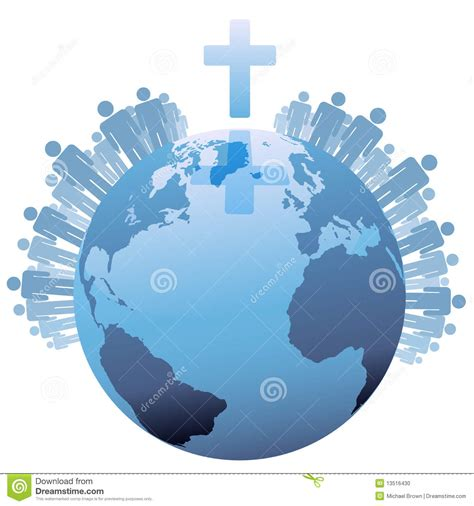 The Who Crossed Worlds world global christian earth cross stock vector