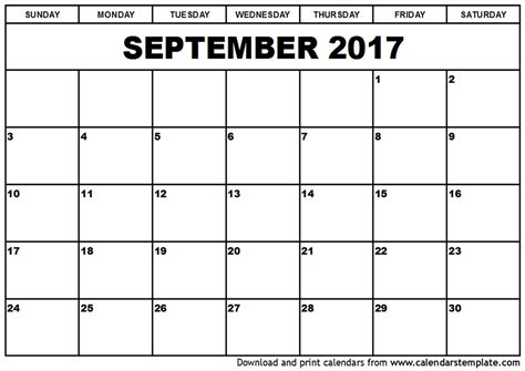 Printable Calendar Template september 2017 calendar printable template pdf holidays