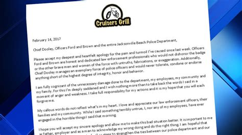 Apology Letter For Killing Someone Restaurant Owner Delivers Letter Of Apology To Jax