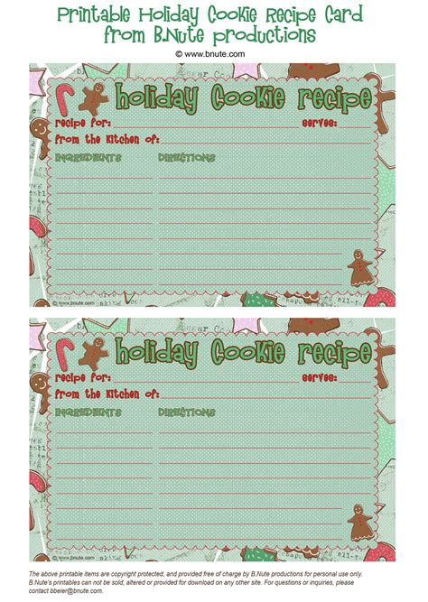 cookie exchange recipe card template bnute productions free printable cookie recipe card