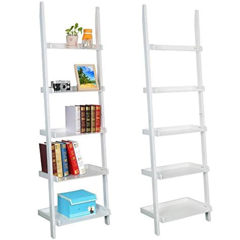 white ladder bookcase go2buy modern white wood 5 tier leaning ladder shelf bookcase bookshelf 70 inch book dvd cd
